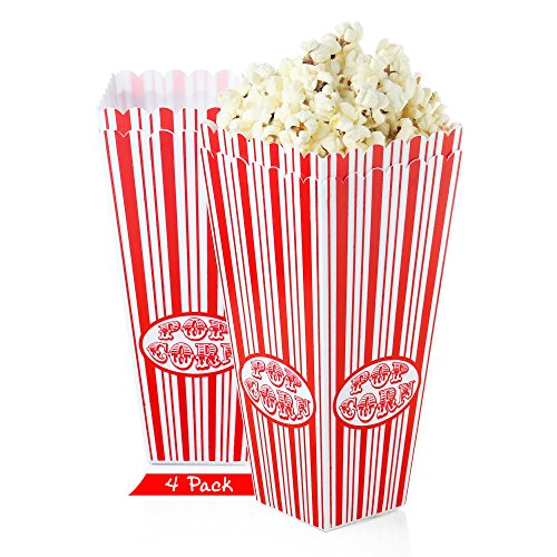 Set of 4 - Popcorn bucket Plastic Container, Reusable Bowel Red & White Stripes, Movie Theater Tub (Pack of 4) (Tub Set Plastic)