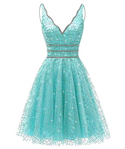 - Women's Tulle Prom Gown Short Homecoming Dresses Crystal Sparkle Party Dresses(Sky Blue,18w)