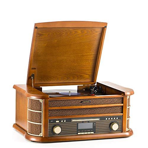 Shuman Vintage 8-in-1 draadloos muziekcentrum met afstandsbediening, 3-speed platenspeler, DAB digitale/FM-radio, CD…
