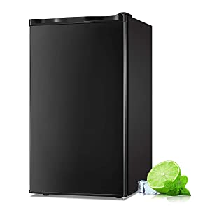 Antarctic Star Compact Mini Refrigerator Separate Freezer, Small Fridge Double Single-Door Adjustable Removable Retro Stainless Steel Shelves Garage Camper Basement/Dorm/Office 3.2 cu ft Black