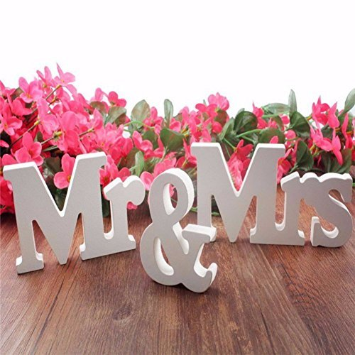 Wedding reception decorations amazon peyan mrmrs wedding party reception sign table decoration solid wooden letter decor junglespirit Gallery