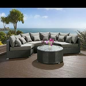 Luxury Outdoor Garden Round 6 Seater Corner Sofa Group Black Rattan