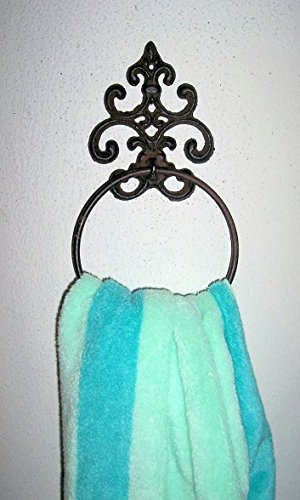 dist by Classyjacs ABC Products - Heavy Cast Iron - Large Towel Ring - Aged Old Scroll Work - Use For Hanging Towels, Wash cloth and Etc. - (Dark Rustic Finish - Wall Hung With Two Screws) by dist by Classyjacs (Image #1)
