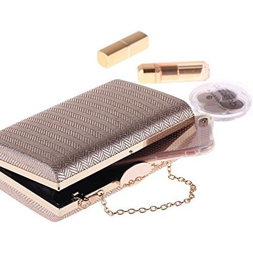 Borsa Borsa a pochette quadretti Color mano pelle pochette Gold KERVINZHANG in rigida a con rigida a sintetica Silver con mano dgwCdFq