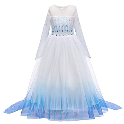 LZH Little Girls Costume Dress 3PCS Princess Elsa Fancy Dresses Outfits Pants Long Sleeve Dress up+Accessories: Clothing