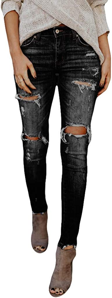 Topunder Hight Waisted Ripped Jeans Women Skinny Hole Denim Jeans Destroyed Slim Pants At Amazon Women S Jeans Store