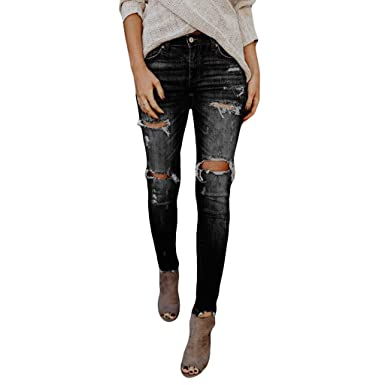 19ad04c18bc TOPUNDER Hight Waisted Ripped Jeans Women Skinny Hole Denim Jeans Destroyed  Slim Pants Black