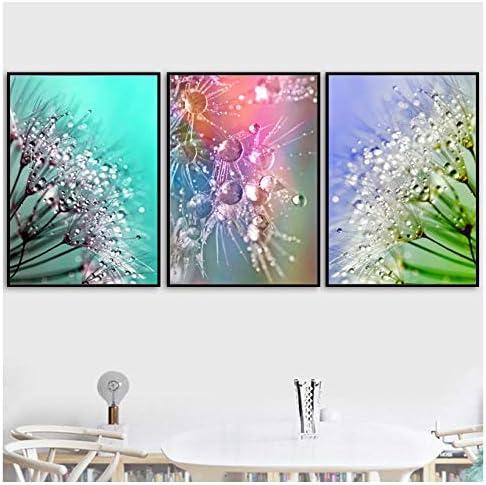 カラフルなタンポポの花の水滴壁アートキャンバス絵画北欧ポスターやプリント壁の写真リビングルームの装飾-50X70Cmx3フレームレス
