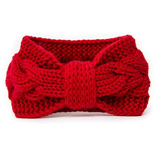 NISHAER Women's Wide Chunky Cable Knitted Turban Headband,Wine Red,One size