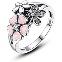 XingYue Jewelry Sterling Silver Rings for Women Cherry Blossom Ring for Girls Teen Promise Rings for Her Mothers Day Gift