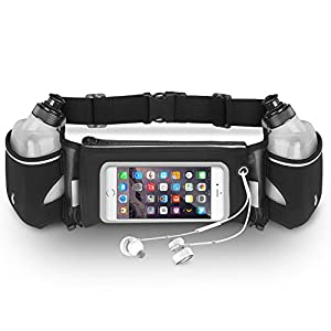 Running Belt,Walkas Zipper Pockets Water Resistant Waist Bag,with Water Bottle (2 Bottles Included) Waist Pack for Running Hiking Cycling Climbing Camping Travel Compatible with Most Cell Phones