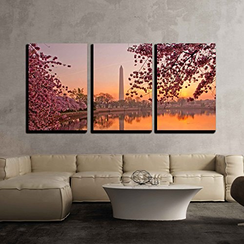 wall26 - 3 Piece Canvas Wall Art - Cherry Blossom Festival at the National Mall Washington, Dc - Modern Home Decor Stretched and Framed Ready to Hang - 16