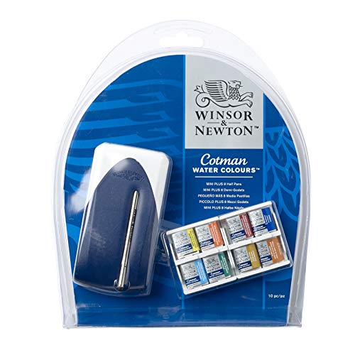 Winsor & Newton Cotman Water Colour Paint Mini Plus Set, Set of 8, Half Pans ()