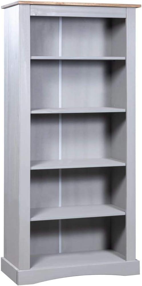 vidaXL Kiefer Bücherregal 4 Böden Mexiko-Stil Weiß Standregal Bücherschrank