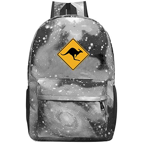 (Kangaroo Road Sign Starry Sky Backpack Large Capacity Fashion School Travel Bags 20L-35L Fits Laptop and Notebook)