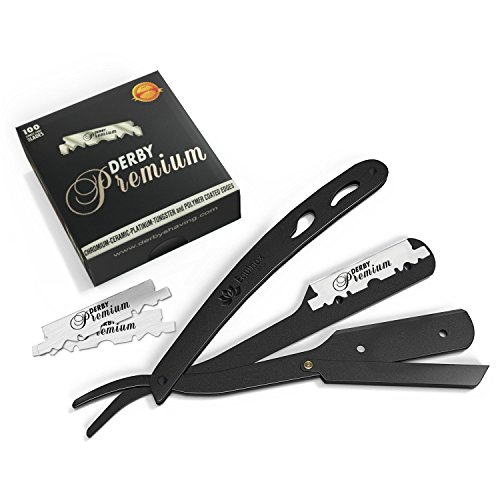 Equinox Professional Matte Black Straight Edge Razor with 100 Single Edge Derby Premium - Long A I Do Have Face