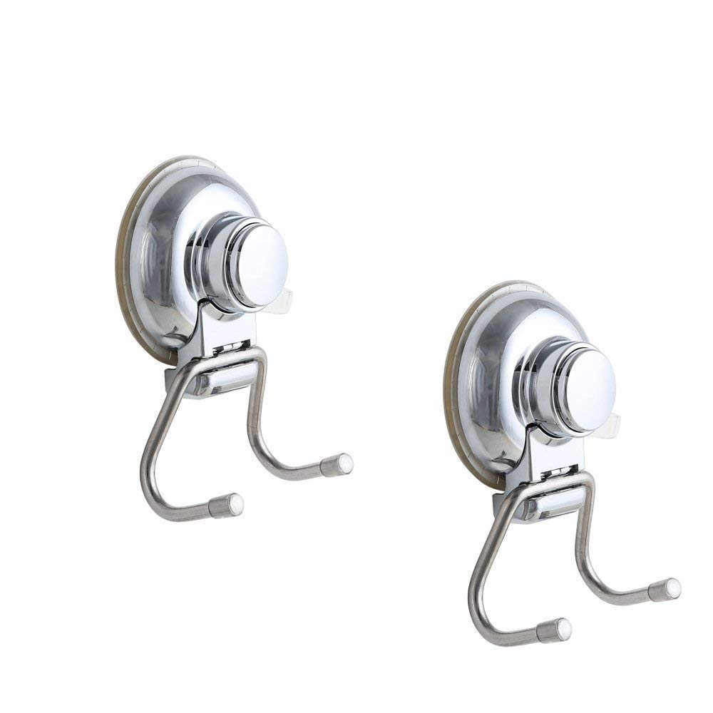 Pack of 2, Onerbuy Stainless Steel Super Suction Cup Dual Hooks, Heavy Duty Bath Kitchem Utility Towel Hooks Holder