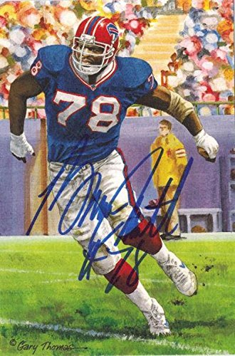 Signed Bills Bruce Smith (Bruce Smith Autographed/signed Buffalo Bills Goal Line Art In Blue 13262 - Original NFL Art and Prints)
