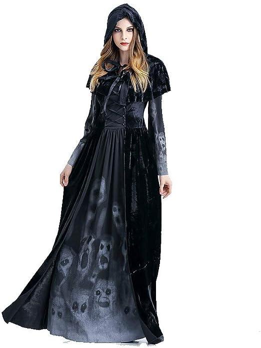 Traje de Esqueleto para Mujer Adulto Vampiro Bruja Disfraz Vestido ...
