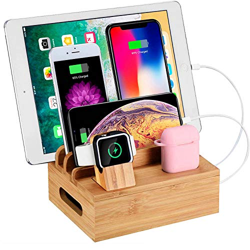 (WXTOOLS Bamboo Wood Desk Organizer for Multiple Devices, Charging Stations Accessories Docking Cradle Holder Compatible Cell Phone/AirPods/Apple Watch/Tablets)