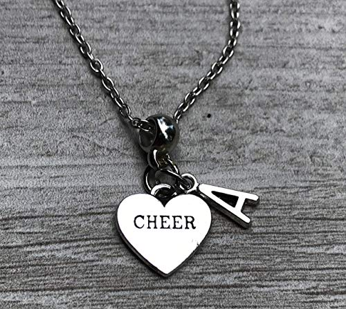 Personalized Cheer Necklace with Initial Charm, Girls Cheerleading Jewelry, Perfect Gift For Cheerleaders (Cheerleader Charm Necklace)