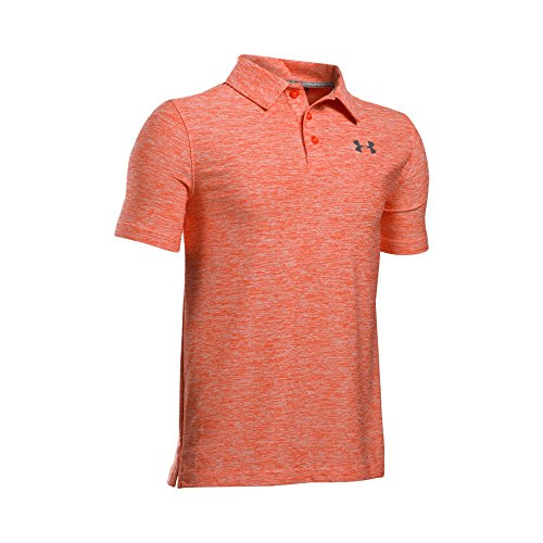 Under Armour Boys' Playoff Polo Shirt, Dark Orange/True Gray Heather, Youth Large