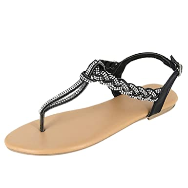 8323a159b774 Amazon.com  Women Summer Boho Roman Style Sandals Fashion Casual Thong  Sandals T-Strap Flip Flops Flats with Ankle Strap by Lowprofile  Clothing
