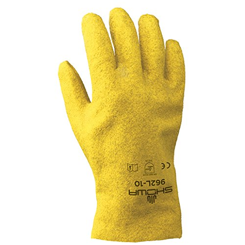 SHOWA Best Glove Small Fuzzy Duck Heavy Duty Abrasion Resistant Yellow PVC Fully Coated Work Gloves With Cotton And Jersey Liner And Slip-On ()