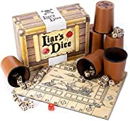 Liar's Dice Game Set - Classic Family Bluffing Game - Treasure Chest Includes Six Professional Bicast Leat