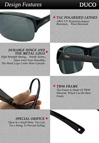 Duco Semi Rimless Sunglasses For Prescription Eyewear Polarized Sunglasses 8953T Black Frame Gray Lens,lens Height 36mm