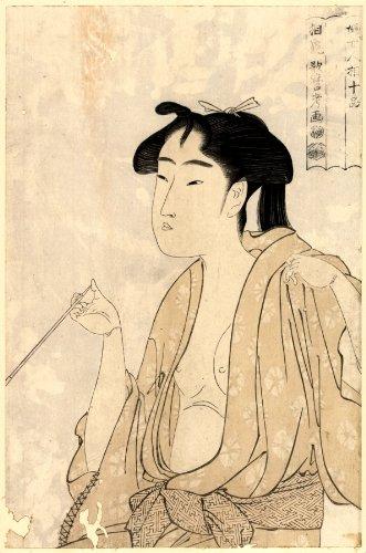 1791 Japanese Print bare-breasted woman smoking a pipe. Tabako o suu onna. TITLE TRANSLATION: Woman smoking a pipe. (Pipe Woman Smoking)
