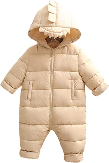 JELEUON 3Pcs Baby Girls Boys One Piece Zipper Down Jacket Winter Romper Jumpsuit Romper+Gloves+Shoes