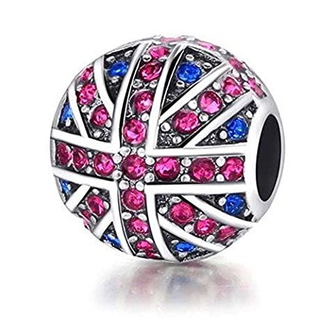 Charm Central Union Jack Charm for Charm Bracelets - Fits Most Charm Bracelets - Jack Heart Charm