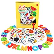 Curious Columbus Magnetic Objects And Letters. Set of 52 Foam Picture Magnets, Plus 26 Uppercase Alphabet Magnets From A-Z. Best Educational Toy for Preschool Learning