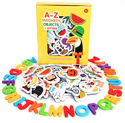 Curious Columbus Magnetic Objects and Letters. Set of 78 Foam Magnets Including 52 Pictures and 26 Uppercase Alphabet Magnets from A-Z. Best Educational Toy for Preschool - Magnets Smethport Toys