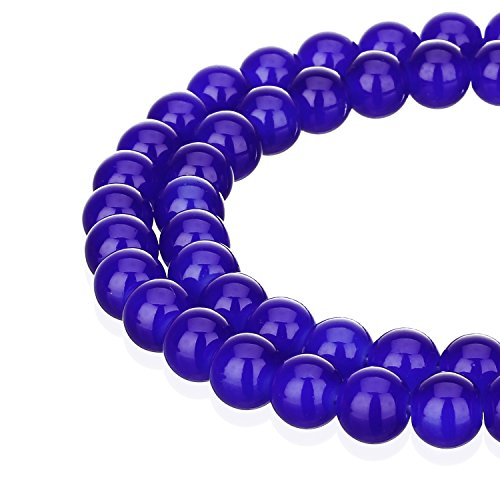 RUBYCA 1 Strand 8MM Jade Imitation Round Painted Coated Glass Beads DIY Jewelry Making Royal Blue