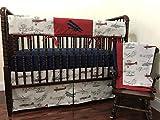 Nursery Bedding, 1-5 Piece Bumperless Baby Crib Bedding Set Talbot, Baby Boy Bedding, Crib Rail Cover, Airplane Baby Bedding - Choose Your Pieces
