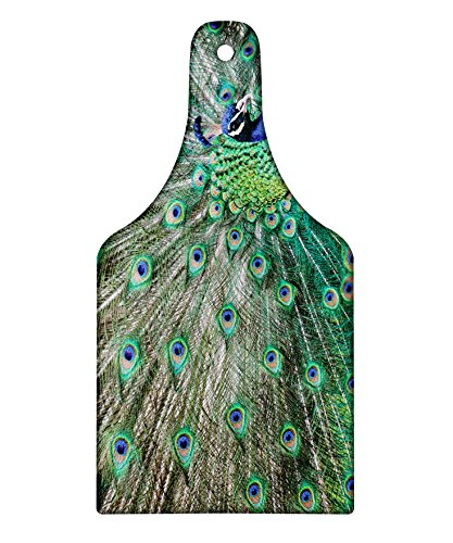 Lunarable Peacock Cutting Board, Peacock Displaying Elongated Majestic Feathers Open Wings Picture, Decorative Tempered Glass Cutting and Serving Board, Wine Bottle Shape, Navy Blue Green Pale Brown (Displaying Peacock Feathers)