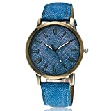 Watch, XUANOU 1PC Lover's Quartz Analog Wrist Delicate Canvas Printed Dial Watch Luxury Sport Watches (Blue)