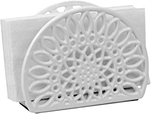 Home Basics NH45813 Sunflower Collection Cast Iron Napkin Holder for Kitchen Countertop | Dinner Table | Indoor & Outdoor Use | Storage and Organization, White