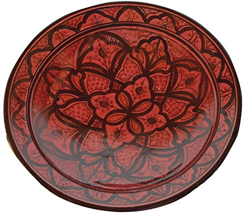 Ceramic Plates Moroccan Handmade Serving, Wall Hanging, Exquisite Colors Decorative Large 12 inches Diameter ()