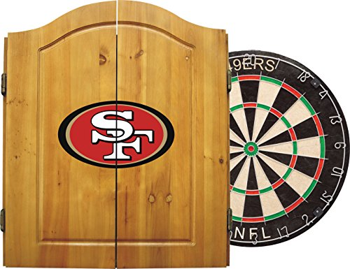 Imperial Officially Licensed NFL Merchandise: Dart Cabinet Set with Steel Tip Bristle Dartboard and Darts, San Francisco 49ers