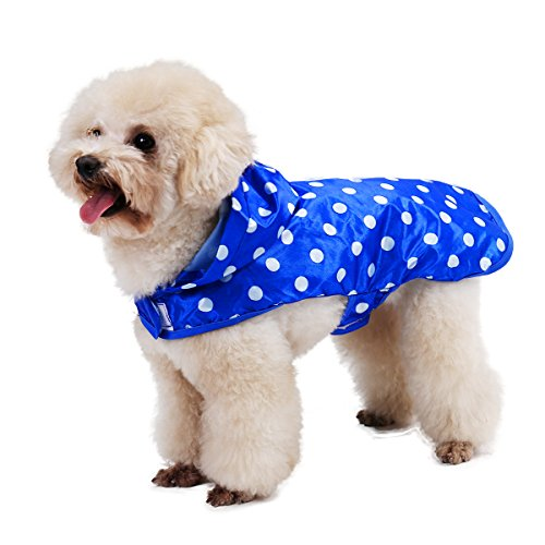 (Speedy Pet Dog Raincoat Hood Rain Jacket, Dog Adorable Dots Pattern Rain Poncho Coat Outdoor Waterproof Apparel Clothes with Portable Packing Bags Blue L)