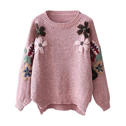 L'inverno E L'autunno Ricamata Maglina In Roohb A Pink Donna Da Fiori aZxAwqpES