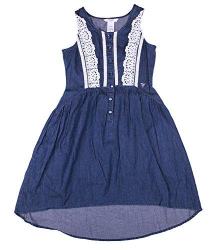 Guess Big Girls Sleeveless, Lace-trimmed Cotton Chambray Dress (8, Dark Stone)