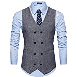 Cottory Mens Vintage Slim Fit Double-breasted Solid Suit Vest