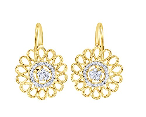 Round Cut White Diamond Flower Vintage-Style Drop Earrings in 14K Solid Gold (0.25 Cttw) by Wishrocks