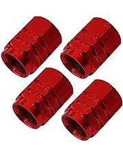 Aerzetix C18530 ventieldoppen, rood, aluminium, voor auto, motorfiets, fiets, auto, utility
