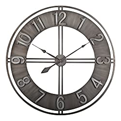 Studio Designs Home Industrial Loft 15 inches Metal Wall Clock, Brushed Steel