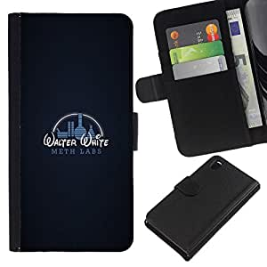 NEECELL GIFT forCITY // Billetera de cuero Caso Cubierta de protección Carcasa / Leather Wallet Case for Sony Xperia Z3 D6603 // Gracioso - laboratorio de metanfetamina W W